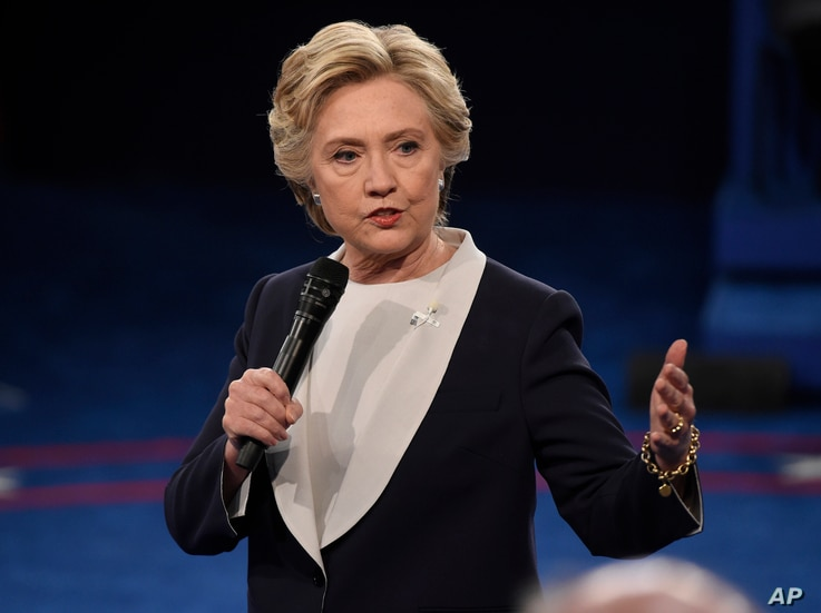Democratic presidential nominee Hillary Clinton speaks during the second presidential debate at Washington University in St. Louis, Sunday, Oct. 9, 2016.
