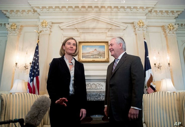 European Union's chief diplomat Federica Mogherini reacts to question from the media as she meets with U.S. Secretary of State Rex Tillerson, Feb. 9, 2017, at the State Department in Washington.