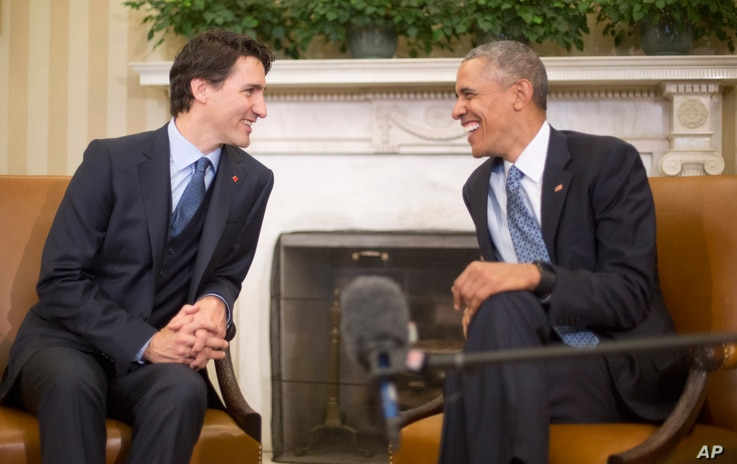 President Barack Obama meets with Canadian Prime Minister Justin Trudeau, March 10, 2016, in the Oval Office of the White House in Washington.
