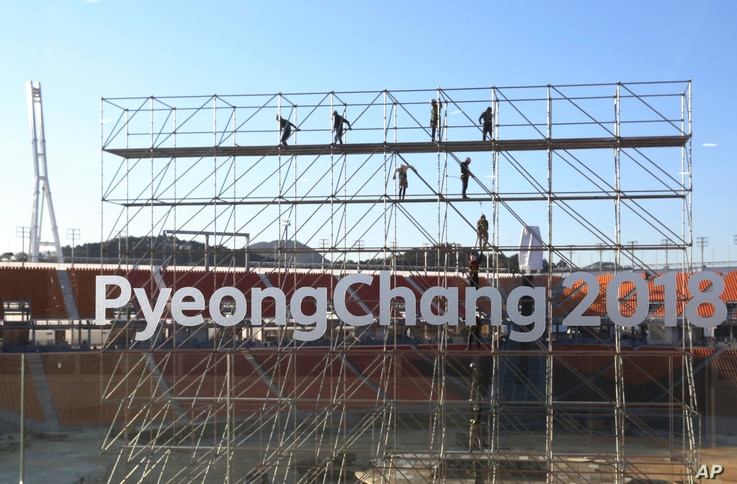 FILE - The Pyeongchang Olympic Stadium under construction in Pyeongchang, South Korea.