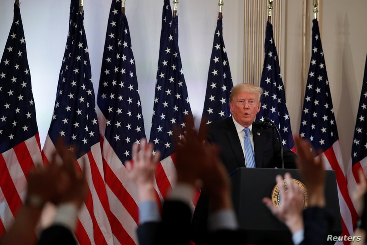 U.S. President Donald Trump takes questions during a news conference on the sidelines of the 73rd session of the United Nations General Assembly in New York, Sept. 26, 2018.