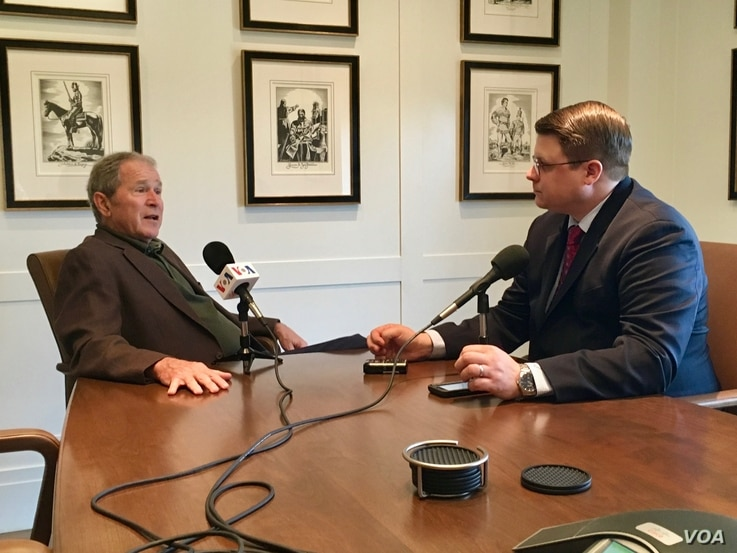 Former president George W. Bush is interviewed by VOA's Kane Farabaugh at the Bush Presidential Museum in Dallas, Texas.