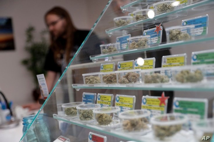 In this Dec. 29, 2017, photo, various kinds of marijuana strains are displayed at the KindPeoples dispensary in Santa Cruz, Calif.