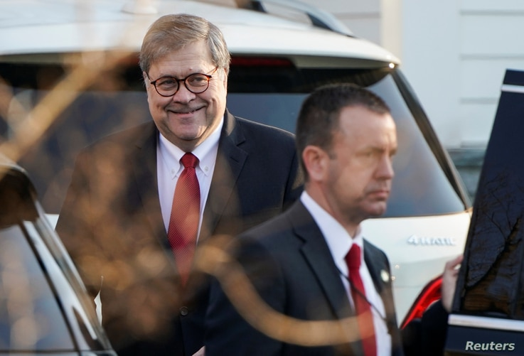 U.S. Attorney General William Barr leaves his house after Special Counsel Robert Mueller found no evidence of collusion between U.S. President Donald Trump's campaign and Russia in the 2016 election in McClean, Virginia, March 25, 2019.