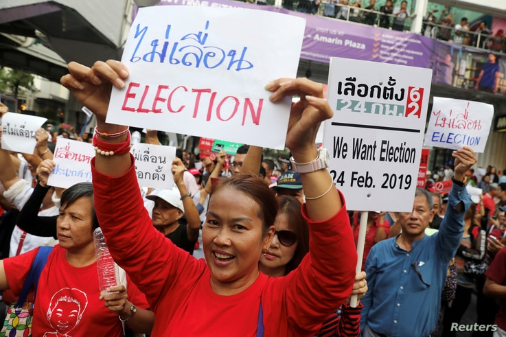 Activists and university students gather to demand the first election in Thailand, since the military seized power in a 2014 coup, in Bangkok, Jan. 8, 2019.