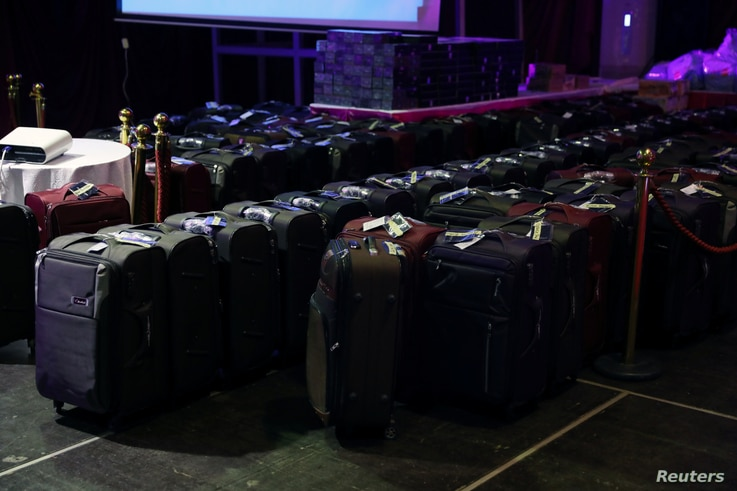 Some of the gifts packaged to be given to the 106 girls who were kidnapped by Boko Haram militants in the Nigerian town of Chibok are seen during the the send-forth dinner organised for them in Abuja, Nigeria, Sept. 13, 2017.