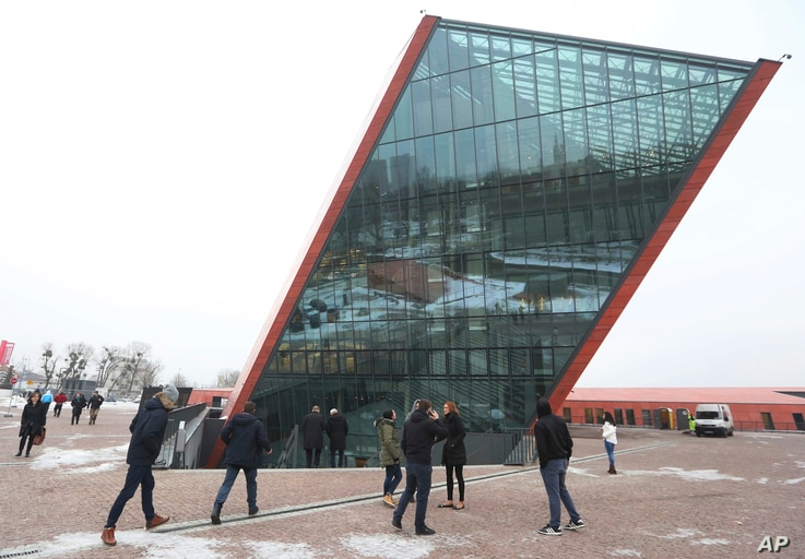 People visit the Museum of the Second World War, an ambitious new museum under creation for nine years which is almost completed, in Gdansk, Poland, Jan. 23, 2017.