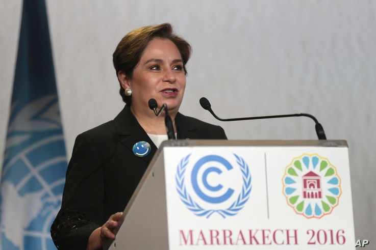 U.N. climate chief Patricia Espinosa delivers her speech during the opening session of the Climate Conference in Marrakech, Morocco, Monday Nov. 7, 2016.