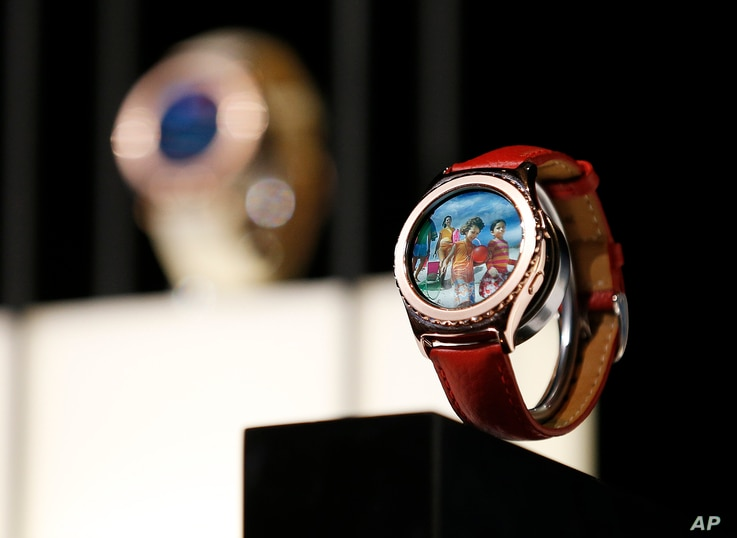 Samsung Gear S2 Classic smart watches are on display during a Samsung news conference at CES Press Day at CES International, Jan. 5, 2016, in Las Vegas.
