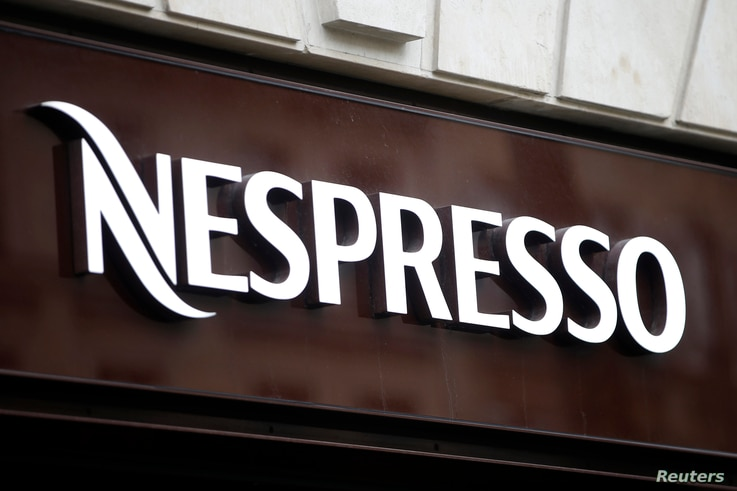 The Nespresso logo is seen on a shop in Paris, France, March 10, 2016.