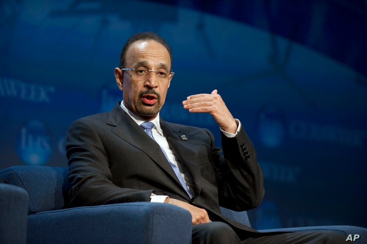 FILE - Saudi Aramco President and CEO Khalid Al-Falih speaks at the IHS CERAWEEK energy conference, March 5, 2013, in Houston.