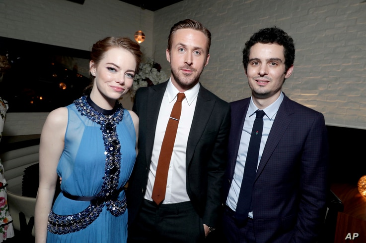 """Emma Stone, Ryan Gosling and writer/director Damien Chazelle seen at the Los Angeles Premiere of """"La La Land"""" afterparty at Village Theatre, Dec. 6, 2016, in Los Angeles."""