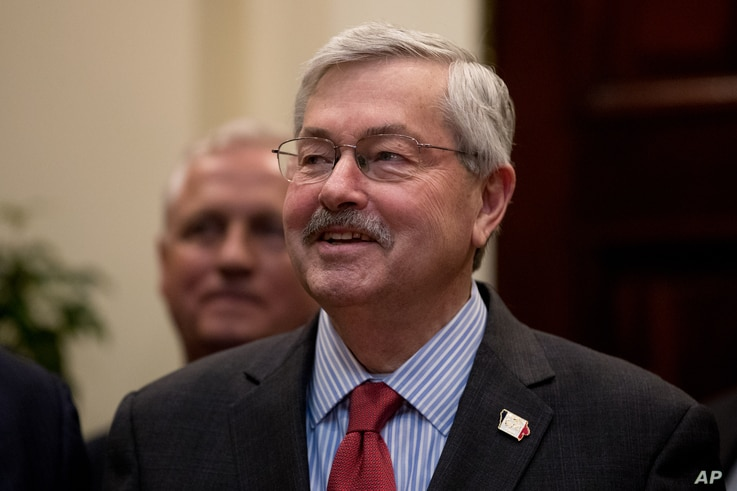 Iowa Gov. Terry Branstad attends an event with governors and President Donald Trump in the Roosevelt Room at the White House in Washington, April 26, 2017.