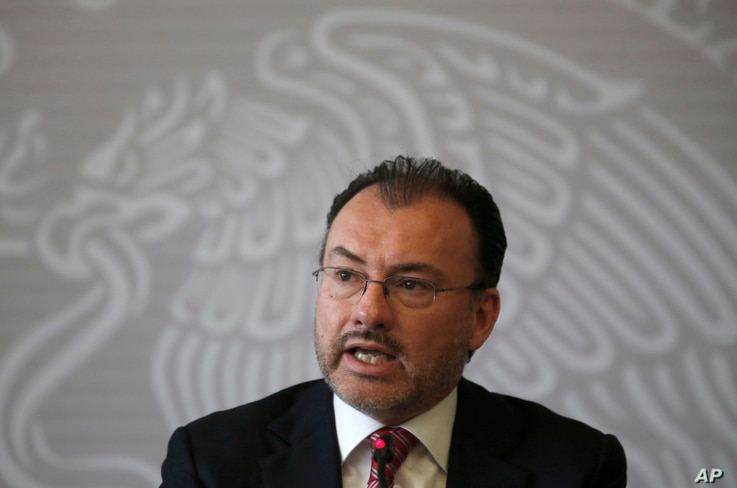 Mexican Foreign Secretary Luis Videgaray speaks at a press conference in Mexico City, June 19, 2018.