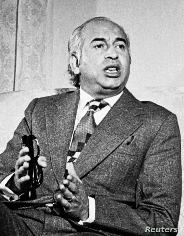 UNDATED FILE PHOTO - Former Pakistani Prime Minister Zulfikar Ali Bhutto, father of opposition leader Benazir Bhutto, is shown in this file undated photograph. Ali Bhutto is viewed as the main architect of Pakistan's nuclear capability because he cal...