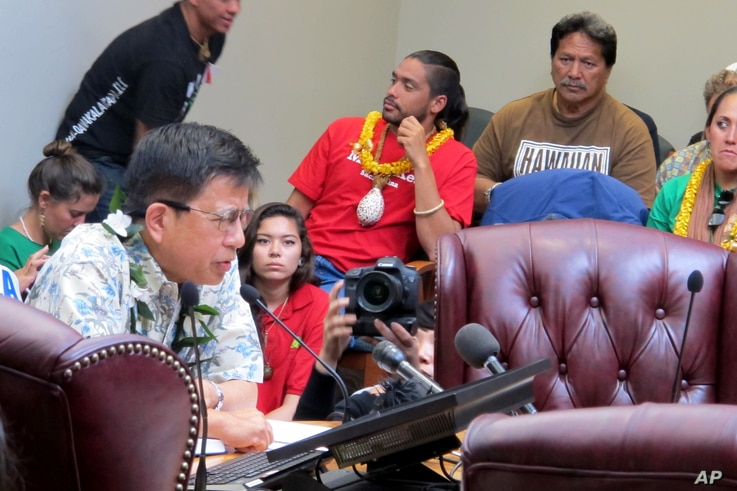 In this file photo, University of Hawaii law professor Williamson Chang, front left, testifies against the Thirty Meter Telescope project during an Office of Hawaiian Affairs meeting in Honolulu on April 4, 2015, as Lanakila Mangauil, background cent...