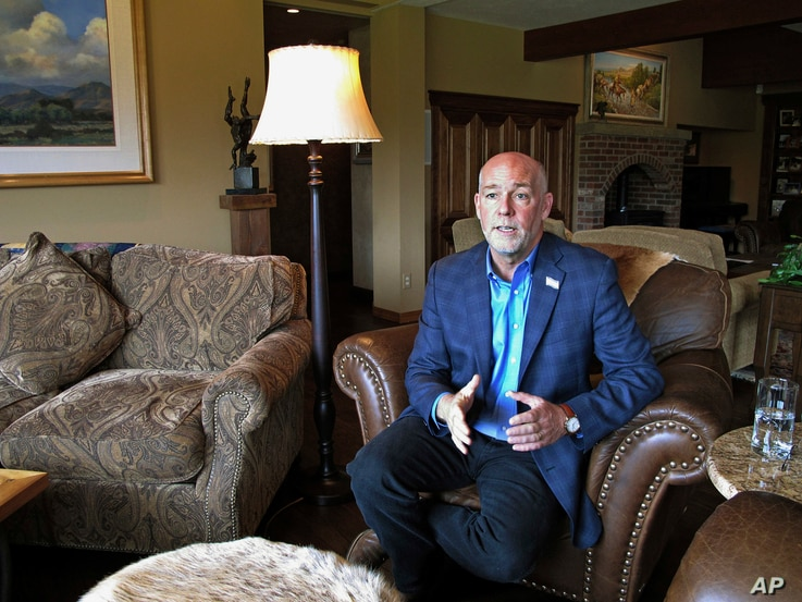 FILE - Republican candidate for governor Greg Gianforte answers a reporter's question in his home in Bozeman, Mont., Oct. 5, 2016, Gianforte is trying to replace Rep. Ryan Zinke.