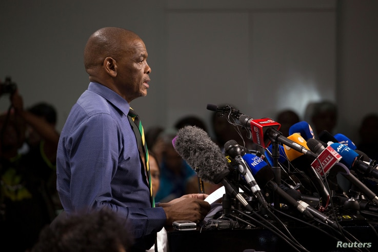 African National Congress (ANC) Secretary-General Ace Magashule and members of the ANC National Executive Committee address a media conference in Johannesburg, South Africa, Feb. 13, 2018.
