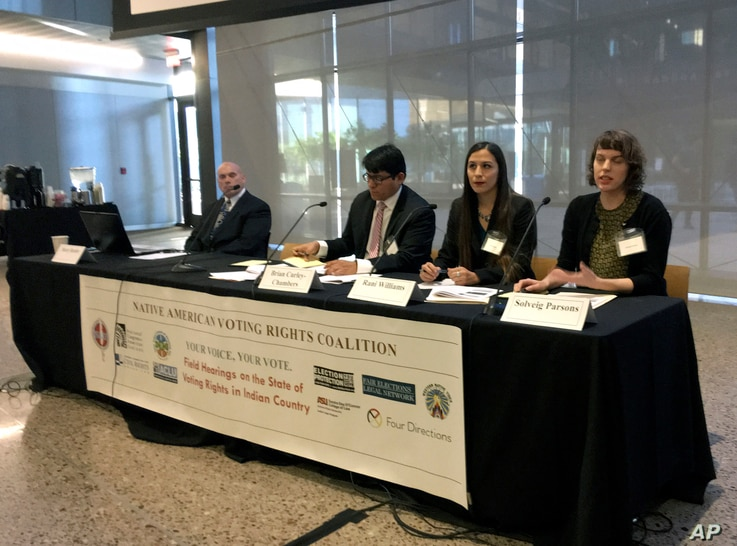 Students from the Sandra Day O'Connor College of Law at Arizona State University offer their recommendations to improve the voting access for Indians, Thursday, Jan. 11, 2018, in Phoenix, Ariz, as part of a hearing by the Native American Voting Right...