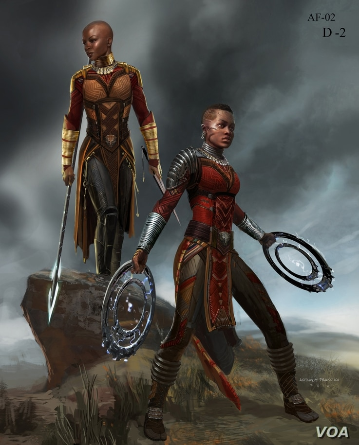 Marvel Studios' Black Panther Dora Milaje conceptual character and costume design sketch. Costume design sketch and costume design: Ryan Meinderding and VisDev Team. Concept artist: Anthony Francisco. ©Marvel Studios 2018