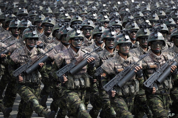 Commandos march across the Kim Il Sung Square during a military parade in Pyongyang, North Korea, to celebrate the 105th birth anniversary of Kim Il Sung, the country's late founder, April 15, 2017.