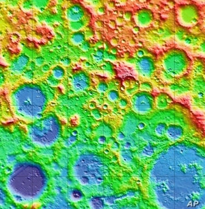 This mosaic shows LOLA topographical images of the moon from altitude measurements.