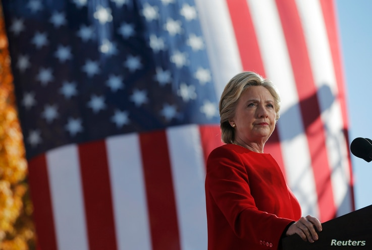 Democratic presidential nominee Hillary Clinton speaks at a campaign rally in Pittsburgh, Pennsylvania, Nov. 7, 2016, the final day of campaigning before the election.