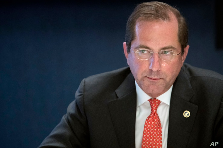 FILE - Health and Human Services Secretary Alex Azar speaks during an interview with The Associated Press in New York, Sept. 12, 2018.