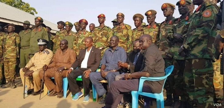 South Sudan First Vice President Taban Deng Gai with soldiers (handout photo).