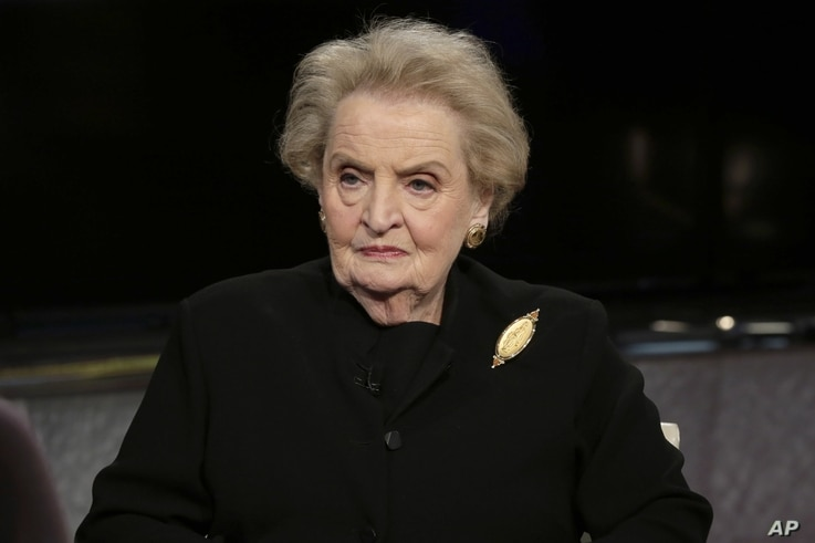 FILE - Former U.S. secretary of state Madeleine Albright is seen during an interview in New York, March 2, 2016.