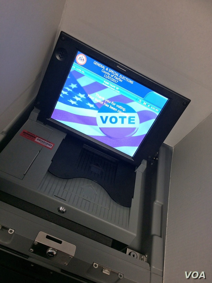 An electronic voting machine is seen at a polling station in Fairfax, Virginia, Nov. 7, 2017. (Photo: Diaa Bekheet)