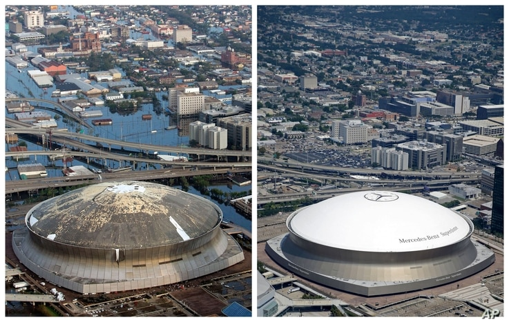 This combination of Aug. 30, 2005 and July 29, 2015 aerial photos shows downtown New Orleans and the Superdome flooded by Hurricane Katrina and the same area a decade later. Katrina's powerful winds and driving rain bore down on Louisiana on Aug. 29,...