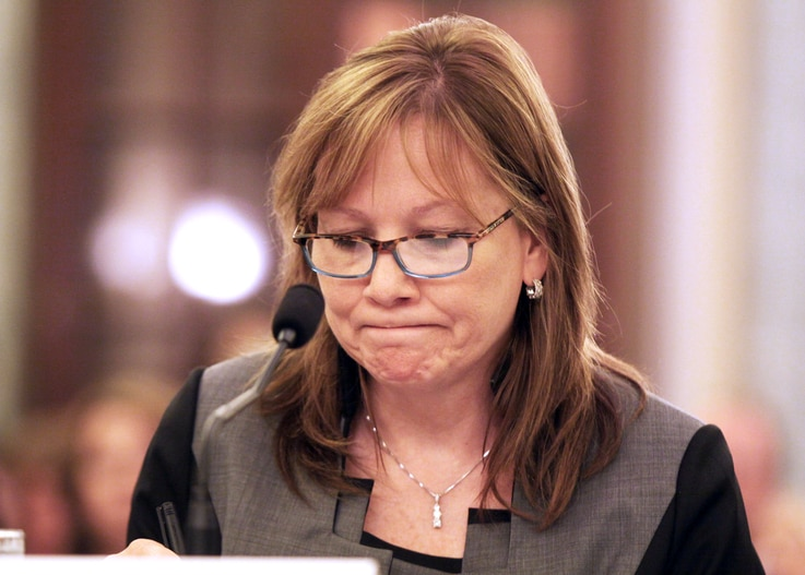 GM CEO Mary Barra pauses while testifying on Capitol Hill in Washington, July 17, 2014, before a Senate Commerce subcommittee hearing examining accountability and corporate culture in wake of the GM recalls.