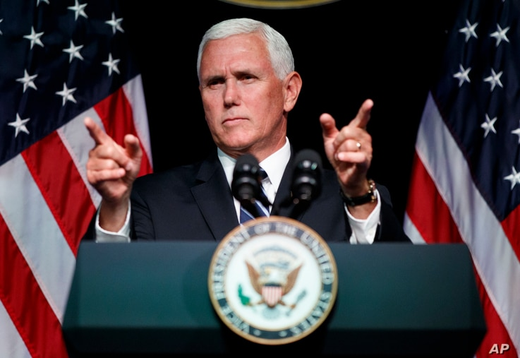Vice President Mike Pence gestures during an event on the creation of a U. S. Space Force, Aug. 9, 2018, at the Pentagon.