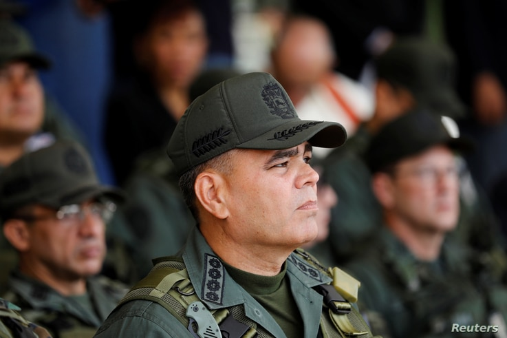 Venezuela's Defense Minister Vladimir Padrino Lopez takes part in a ceremony to kick off the distribution voting materials to be used in the presidential elections, at Fort Tiuna military base in Caracas, May 15, 2018.
