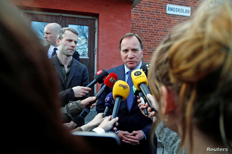 Swedish Prime Minister Stefan Lofven makes a statement after people were killed when a truck crashed into a department store in Stockholm, Sweden April 7, 2017.