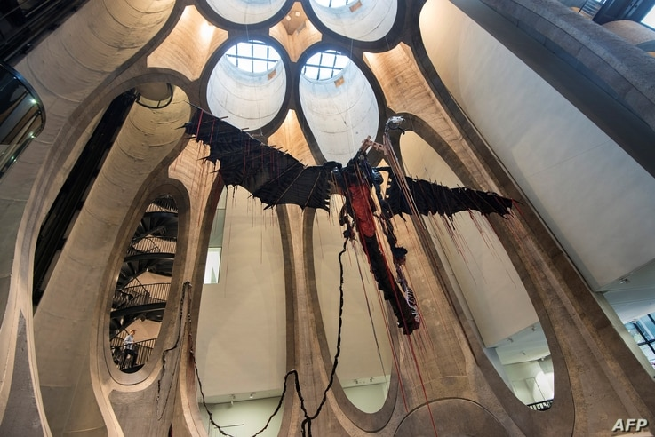 A sculpture by South African artist Nicholas Hlobo dominates the main hall in The Zeitz Museum of Contemporary African Art in Cape Town on Sept. 15, 2017.