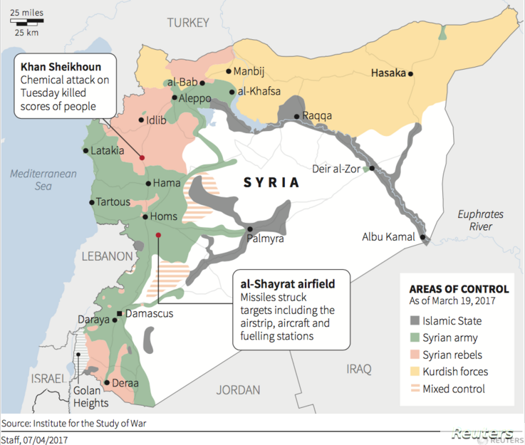 U.S. launches missile strike against Syrian airfield.