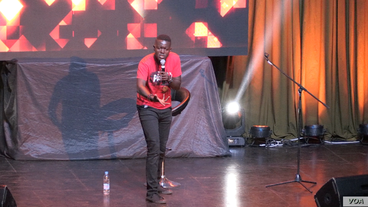 Thirty-two-year-old comedian Victor Tinashe Mpofu, known as Doc Vikela on stage, says humor helps people cope with stress . Dec. 23, 2018 (C. Mavhunga for VOA)