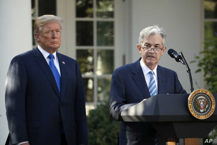 Federal Reserve board member Jerome Powell speaks after President Donald Trump announced him as his nominee for the next chair of the Federal Reserve in the Rose Garden of the White House in Washington, Nov. 2, 2017.