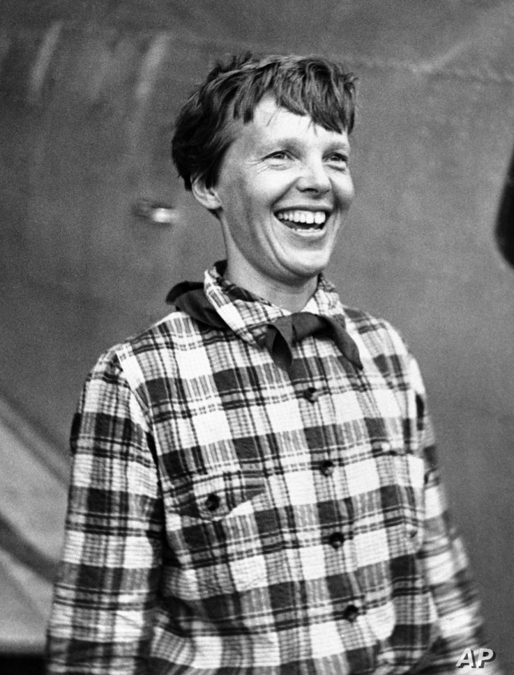 FILE - Amelia Earhart, the American airwoman who is flying round the world for fun, arrived at Port Natal, Brazil, and took off on her 2,240-mile flight across the South Atlantic to Dakar, Africa, June 6, 1937.