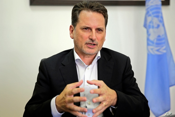 The head of United Nations Relief and Works Agency for Palestine Refugees (UNRWA) Pierre Kraehenbuehl speaks during an interview with The Associated Press in Jerusalem, Aug. 23, 2018.
