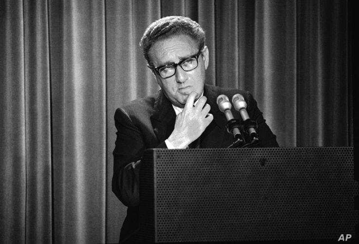 In this Thursday, May 3, 1973 photo, Henry Kissinger, President Nixon's foreign affairs adviser, briefs newsmen on Nixon's annual State the World report to Congress at the White House in Washington. The report states that North Vietnam risks renewed