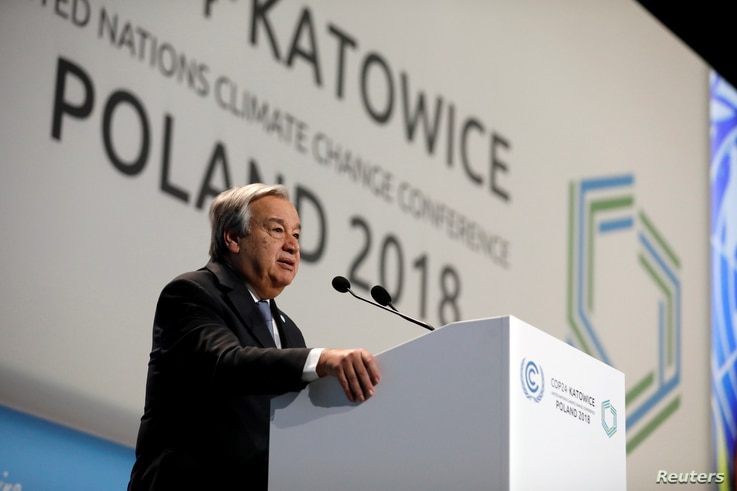 UN Secretary-General Antonio Guterres addresses during the opening of COP24 UN Climate Change Conference 2018 in Katowice, Poland, Dec. 3, 2018.