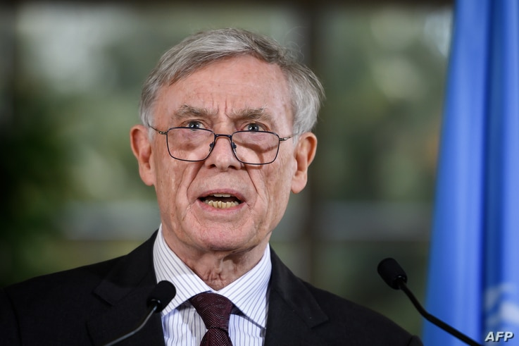 Horst Kohler, envoy of the U.N. secretary-general for Western Sahara, talks to reporters after a two-day round of talks on ending the Western Sahara conflict, at U.N. offices in Geneva, March 22, 2019.