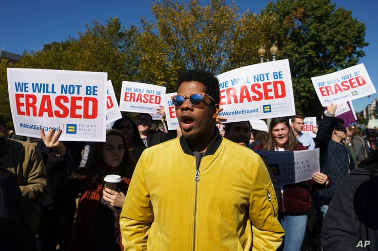 The National Center for Transgender Equality, NCTE, and the Human Rights Campaign gather on Pennsylvania Avenue in front of the White House in Washington, Oct. 22, 2018, for a #WontBeErased rally.