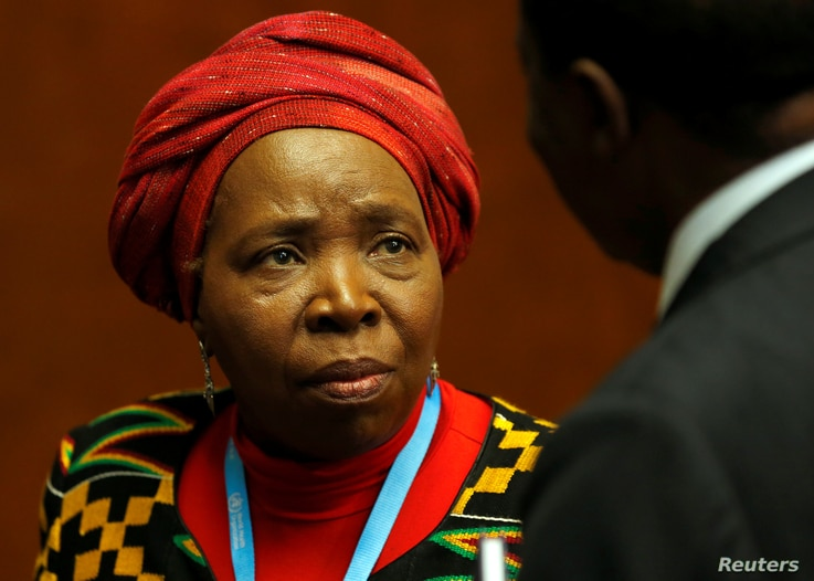 Nkosazana Dlamini-Zuma, head of the African Union Commission, attends a news conference at the European headquarters of the United Nations in Geneva, Switzerland, May 24, 2016. Morrocco claims Dlamini-Zuma  is blocking its efforts to rejoin the Afric