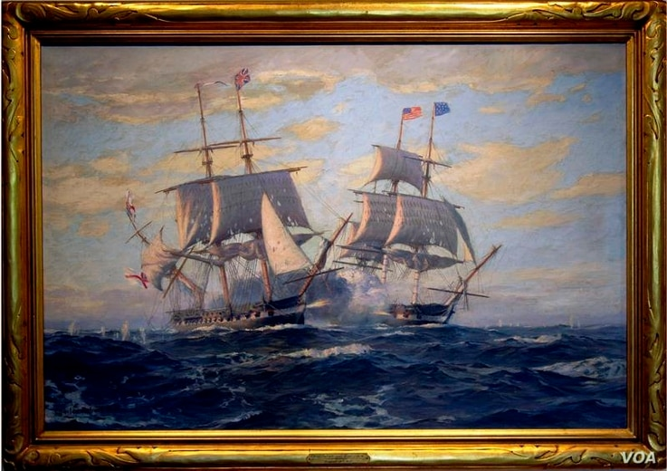 The Naval War College Museum Collection includes a 1928 painting of the 1812 sea battle between the 44-gun frigate USS Constitution and the British Royal Navy frigate HMS Guerriere, by Charles Robert Patterson.