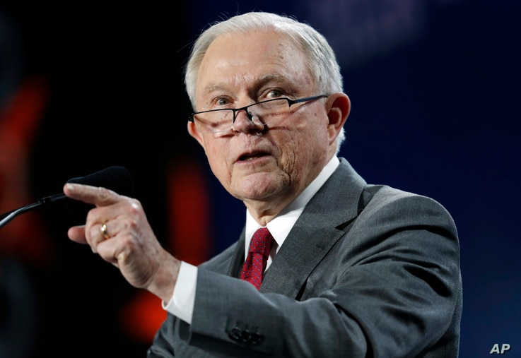 U.S. Attorney General Jeff Sessions makes a point during his speech at the Western Conservative Summit, June 8, 2018, in Denver.