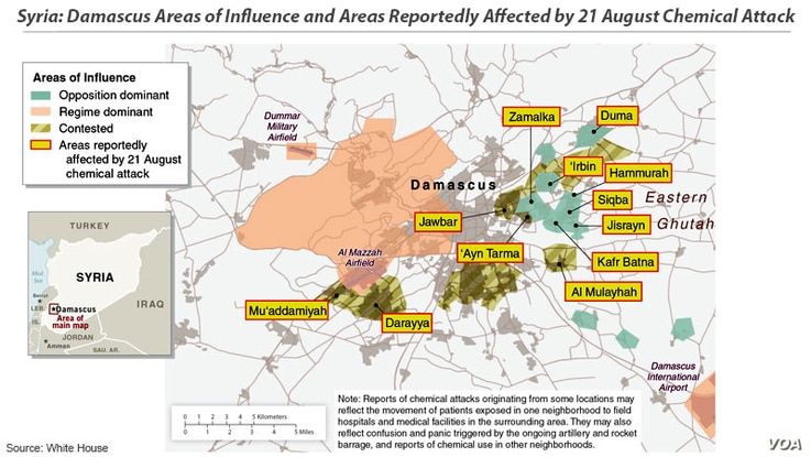 Damascus, Syria areas affected by 21 August chemical attack